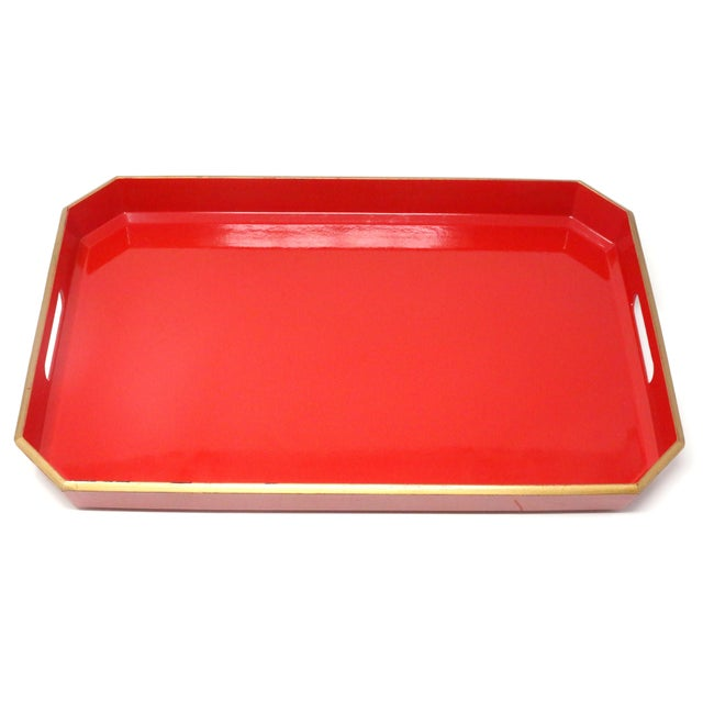 1970s Vintage Japanese Red Lacquered Tray For Sale - Image 5 of 10