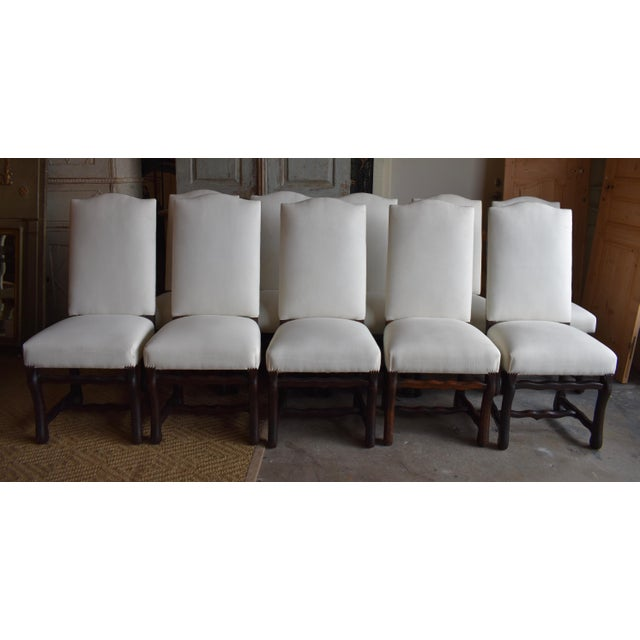 1940s French Provincial Upholstered Os De Mouton Dining Chairs - Set of 10 For Sale - Image 13 of 13