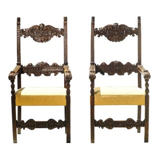 18th C. Italian Walnut Throne Chairs - a Pair For Sale