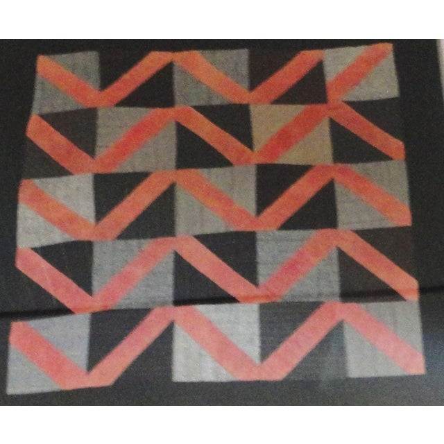 1930s 1930s Amish Wool Doll Quilt in Plexy Frame in a Zig Zag Pattern For Sale - Image 5 of 5