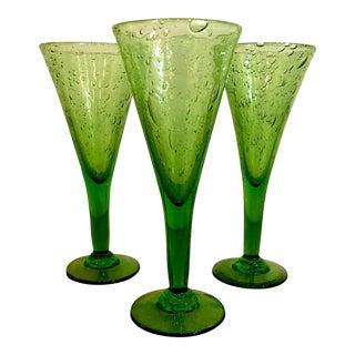 "La Verrerie De Biot Green 8"" Chalice Glasses - Set of 3 For Sale"