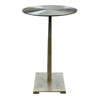 Arteriors Modern Textured Polished Nickel Otelia Accent Table For Sale