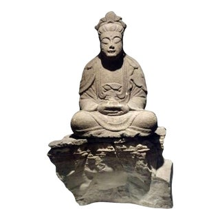 17th Century Carved Stone Buddha For Sale