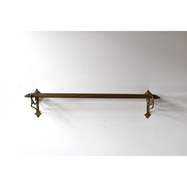 Early 20th Century Early 20th Century Vintage Brass Wall Towel Rack For Sale - Image 5 of 9