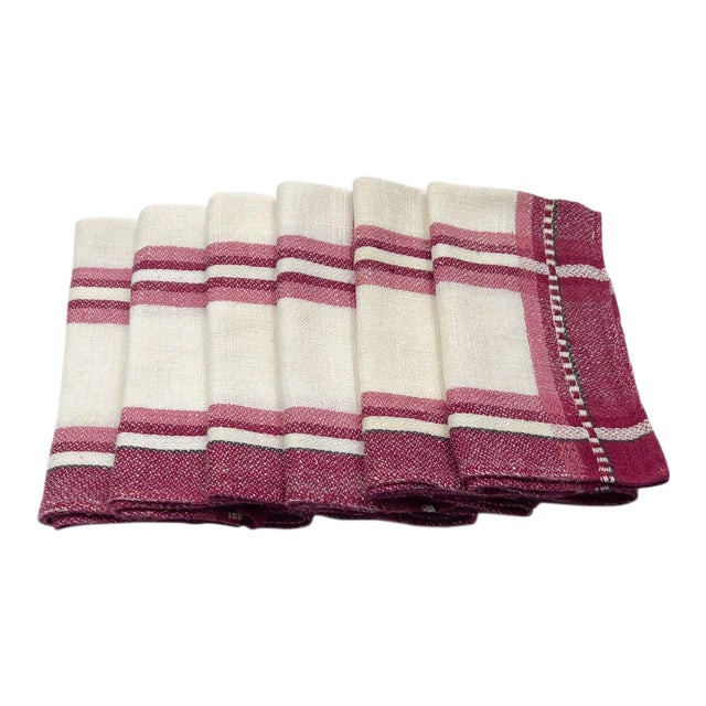 Cranberry and Ivory Linen Tea Napkins or Guest Towels - Set of 6 For Sale