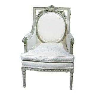 Swedish Style Distressed Painted Bergere Chair For Sale