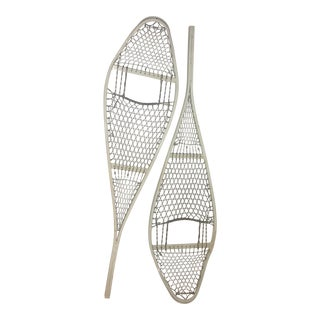 White Metal Military Snow Shoe Decor - A Pair For Sale