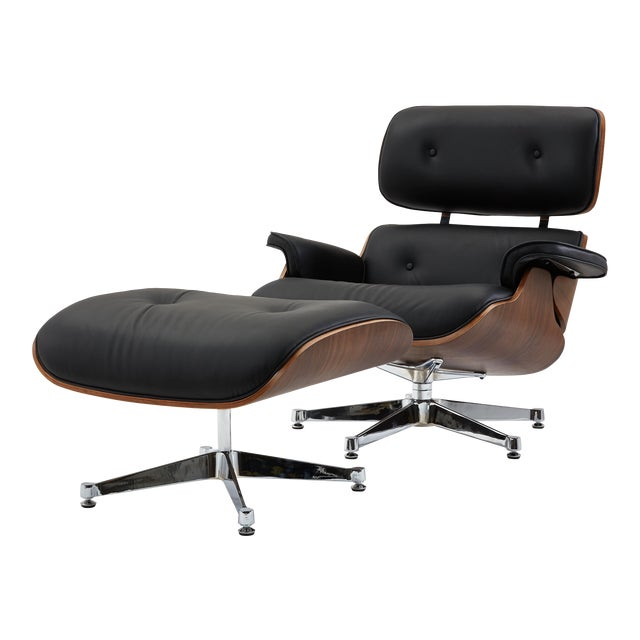 Pasargad's Florence Black Leather Lounge Chair & Ottoman For Sale