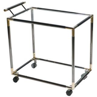 French Hollywood Regency Gunmetal Brass Bar Cart Maison Jansen Style, 1970s For Sale