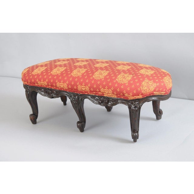 Antique Country French Louis XV Carved Wood Footstool For Sale - Image 4 of 11