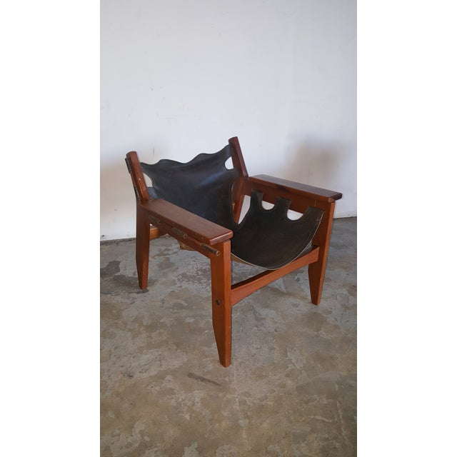 Leather 1970s Mid-Century Modern Sergio Rodrigues for Oca Industries Kilin Lounge Chairs - a Pair For Sale - Image 7 of 9