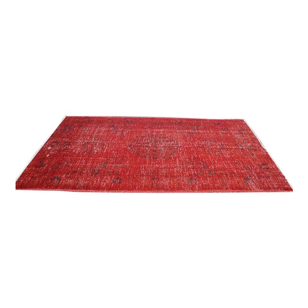 Overdyed Red Turkish Area Carpet - 5′4″ × 9′3″ For Sale