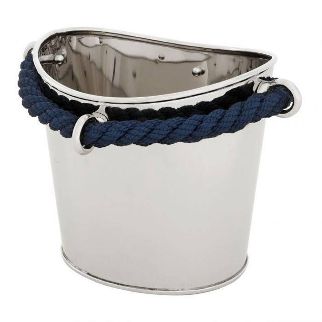 Nautical 2 Bottles Nickel and Navy Rope Wine Cooler by Eichholtz St. Pete Oval For Sale - Image 3 of 3