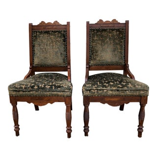 19th Century Vintage Eastlake Victorian Cut Velvet Side Chairs - A Pair For Sale