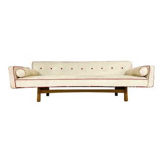 Vintage Edward Wormley for Dunbar Model 5316 Sofa Restored in Brazilian Cowhide With Loro Piana Red Cashmere Welting For Sale