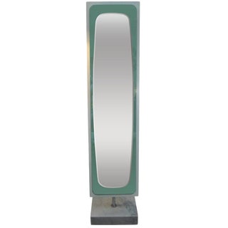 1970's Vintage Italian Standing Mirror on Marble Base For Sale