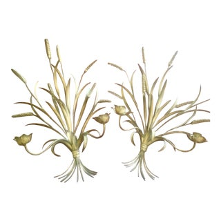 Hollywood Regency Gilt Wheat & Floral Candle Sconces - A Pair