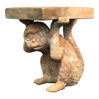 20th Century Figurative Terra Cotta Monkey Plant Stand Pedestal For Sale