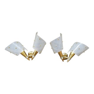 1960s French Brass and Plexiglass Wall Lamps - a PAir For Sale