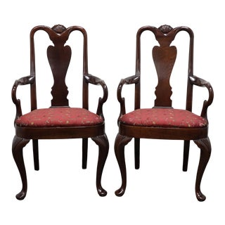 Hickory Chair Queen Anne Style Dining Arm Chairs - Pair 1 For Sale