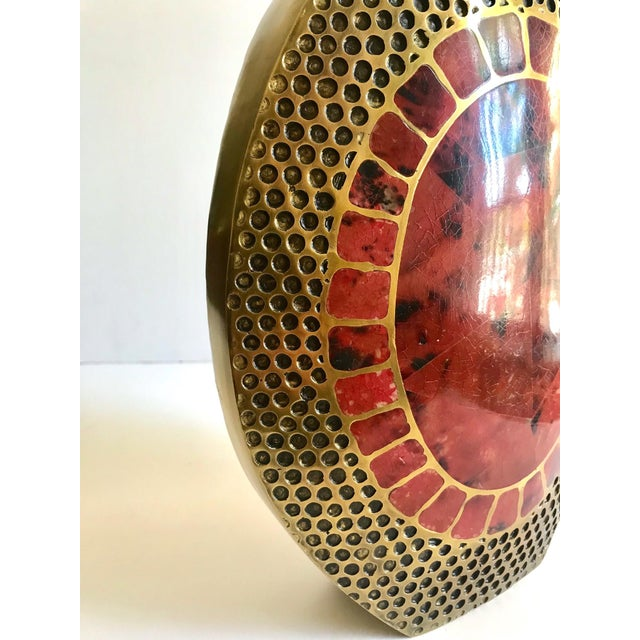 Vintage R & Y Augousti Ovoid Vase in Solid Bronze and Exotic Mosaic Pen-Shell For Sale In Miami - Image 6 of 13