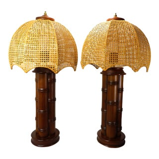 Mid Century Wood Bamboo Table Lamps With Cane Shades Vintage Boho Regency Style - a Pair For Sale