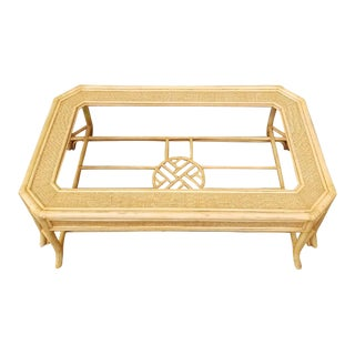 1990s Chippendale Hekman Rattan Coffee Table For Sale