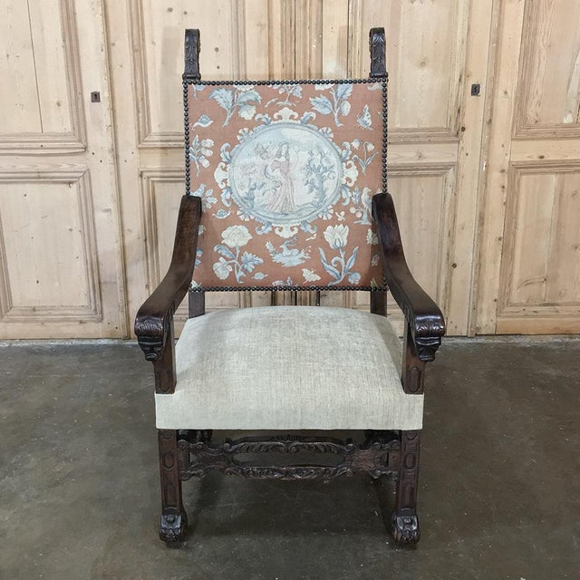 19th Century Spanish Armchair with Needlepoint Tapestry has a newly reupholstered seat with the original needlepoint...