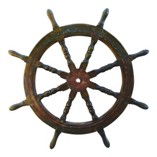 Authentic Green Nautical Maritime Ship's Wheel