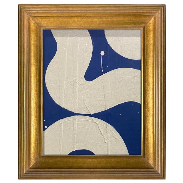 Abstract Ron Giusti Mini Hebi Navy and Cream Acrylic Painting, Framed For Sale - Image 3 of 3
