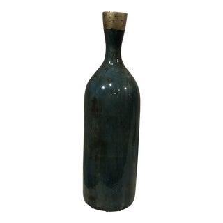 Distressed Blue Glazed Ceramic Bottle For Sale