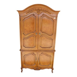 "Thomasville French Louis XV Style Linen Press Armoire Chest Cabinet 82.5""h X 43"" For Sale"