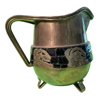 Salvador Teran Mexican Brass Mosaic Aztec Water Pitcher For Sale
