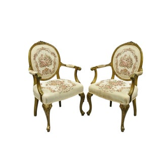 Early 20th Century French Louis XV Needlepoint Tapestry Fireside Arm Chairs- A Pair For Sale