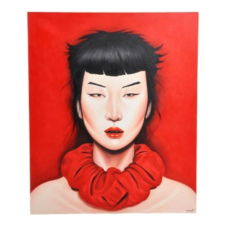 """Face"" Contemporary Painting of a Woman by Kajohnjit Yanaphan For Sale"