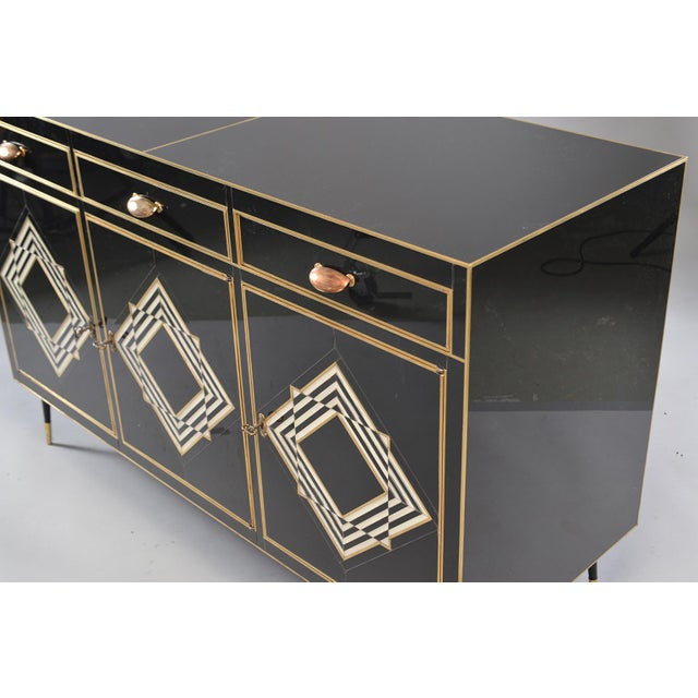 Italian Op Art Murano Black and White Glass Clad Chest of Drawers With Brass Hardware For Sale - Image 3 of 13