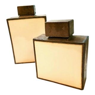 A Pair of Organic Modern Barclay Butera Ceramic Covered Urns