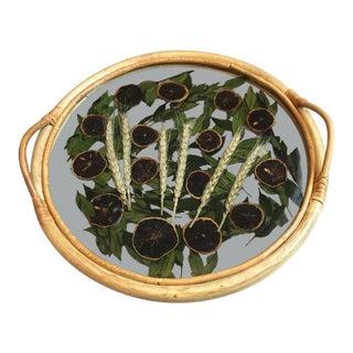 1960s Boho Chic Bamboo Acrylic Gand Glass Tray