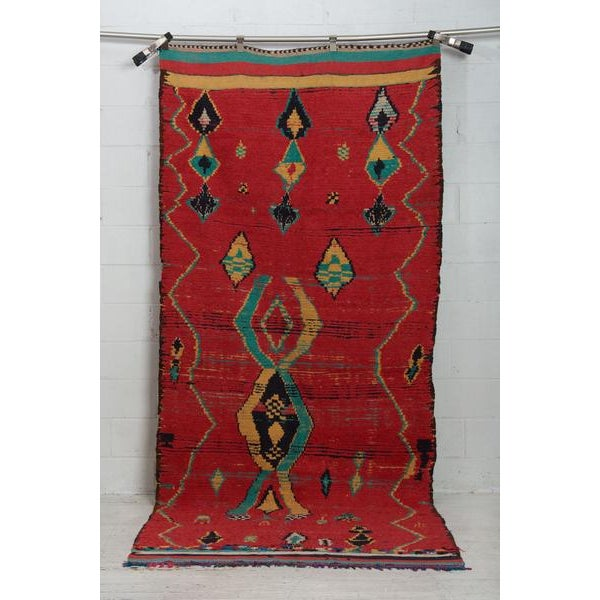 Islamic Ruby Moroccan Tribal Rug - 4′9″ × 10′6″ For Sale - Image 3 of 3
