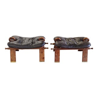 Vintage Camel Saddle Rosewood and Leather Stools - a Pair For Sale
