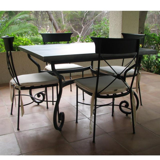 French New Garden, Patio or Dining Table in Wrought Iron For Sale - Image 3 of 5