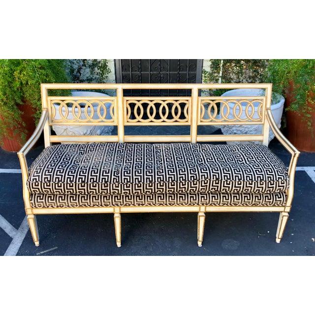 Textile Spectacular Hollywood Regency Style Sofa Settee W Greek Key Cut Velvet For Sale - Image 7 of 7