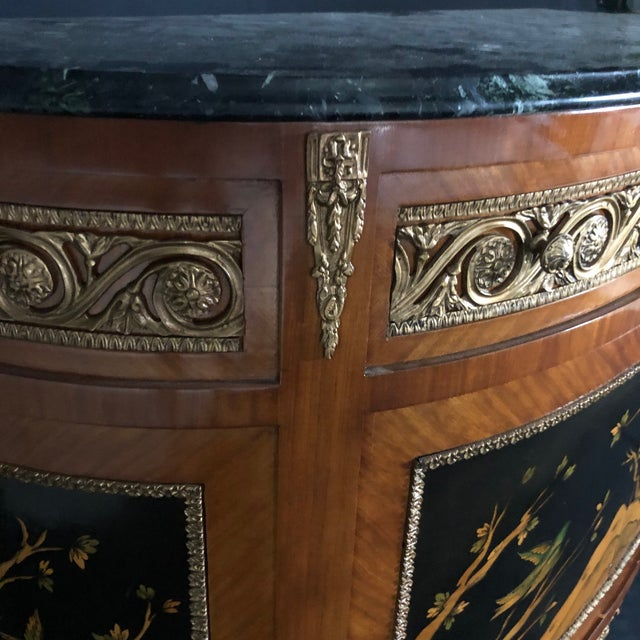 French Louis XV Style Inlaid Demilune Buffet Cabinet Credenza For Sale - Image 9 of 13