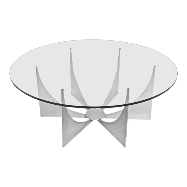 Donald Drumm Brushed Aluminum & Glass Starburst Coffee Table For Sale
