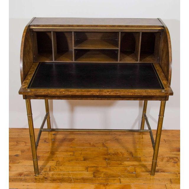 Hollywood Regency Hollywood Regency Mastercraft Roll Top Brass Bamboo Writing Desk For Sale - Image 3 of 6