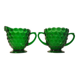Anchor Hocking Green Bubble Cream & Sugar Dishes - A Pair