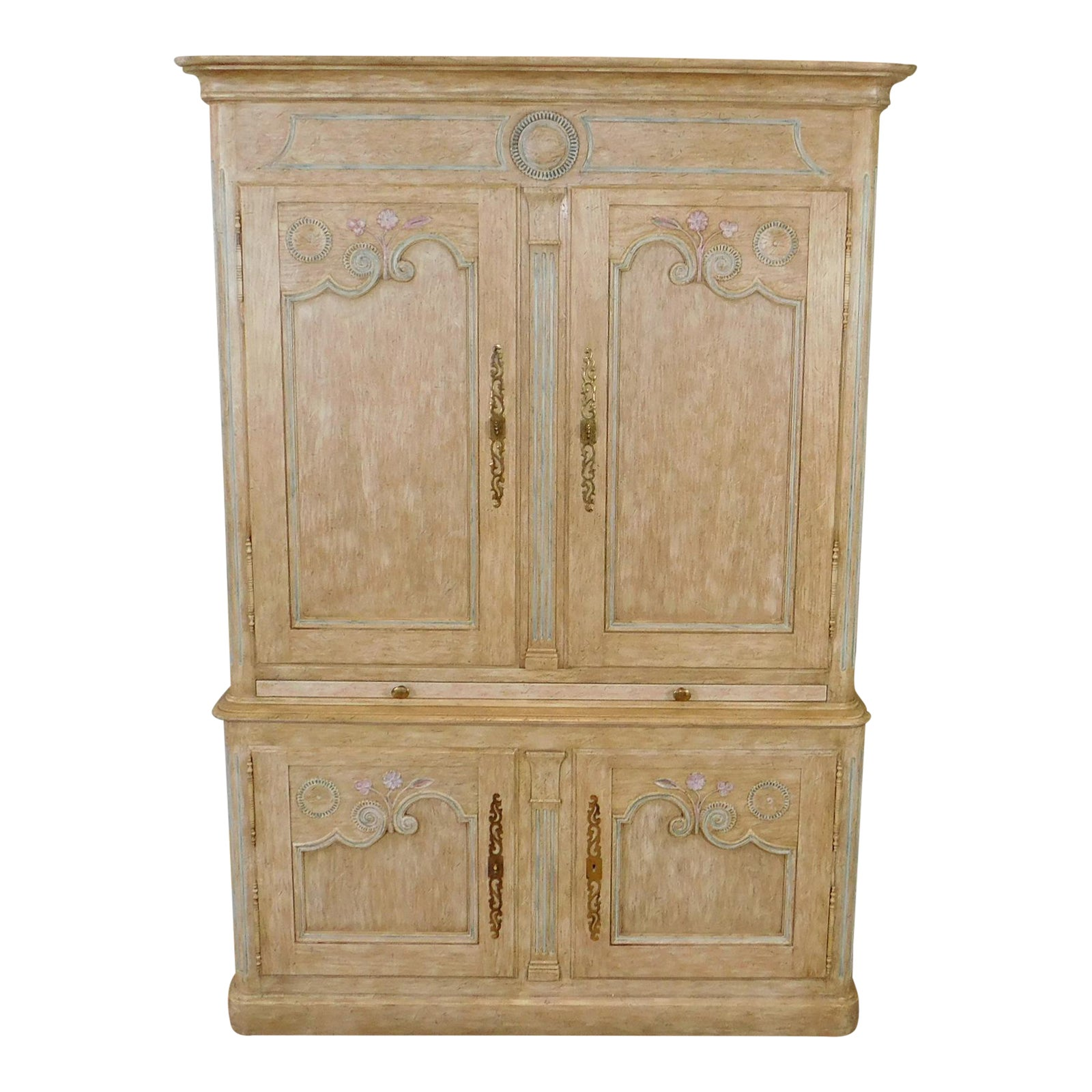 Country French Baker Furniture Paint Decorated Armoire Bar Cabinet Chairish