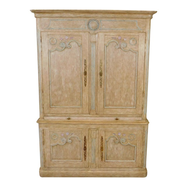 Country French Baker Furniture Paint Decorated Armoire Bar Cabinet For Sale