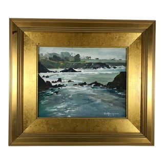 1997 Vintage Paul Youngman Impressionistic Coastal Seascape Oil on Board Painting For Sale