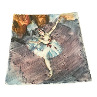 Vintage Italian Edgar Degas Reproduction Ballerina Ceramic Plate For Sale